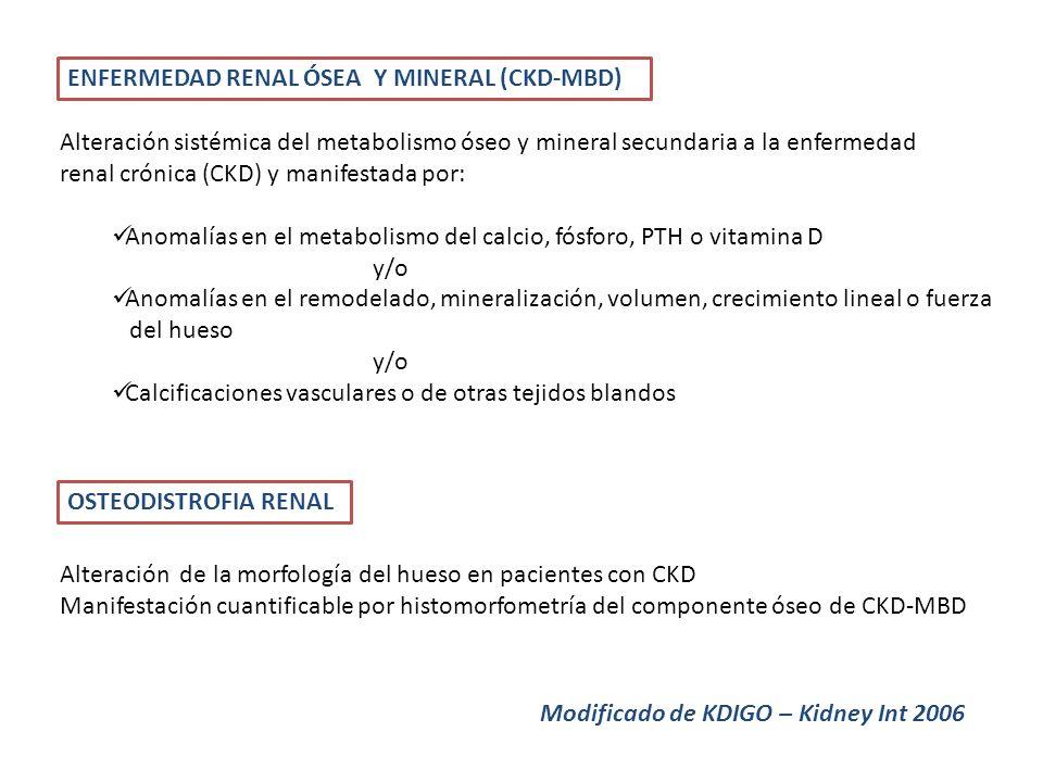 ENFERMEDAD RENAL ÓSEA Y MINERAL (CKD-MBD) Alteración sistémica del metabolismo óseo y mineral secundaria a la enfermedad renal crónica (CKD) y manifes