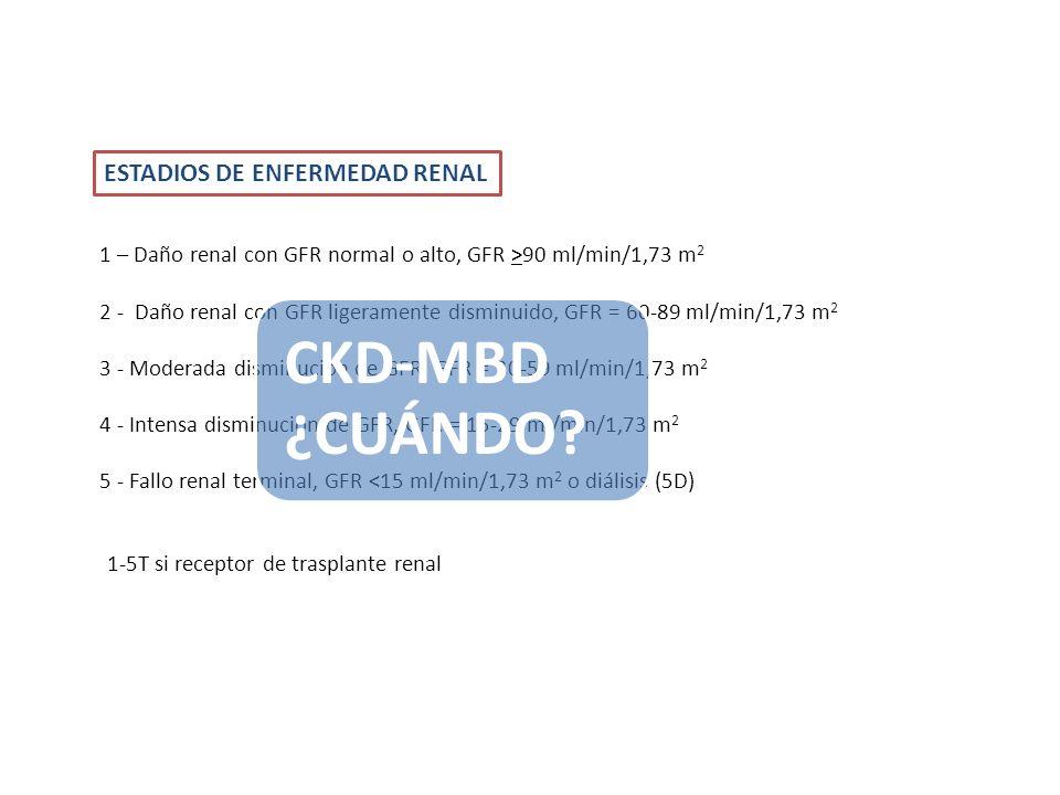 1 – Daño renal con GFR normal o alto, GFR >90 ml/min/1,73 m 2 2 - Daño renal con GFR ligeramente disminuido, GFR = 60-89 ml/min/1,73 m 2 3 - Moderada