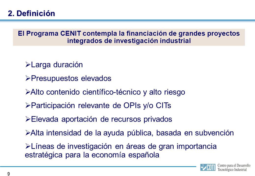 8 Programa INGENIO 2010 Alcanzar el 2% del PIB destinado a la I+D en 2010 y el 1,5% en 2007. Llegar al 55% de la contribución privada en inversión en
