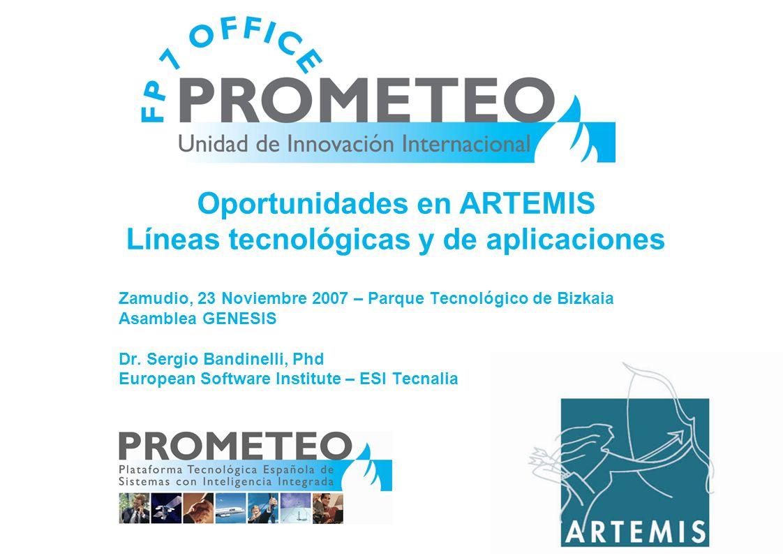 Oportunidades en ARTEMIS Líneas tecnológicas y de aplicaciones Zamudio, 23 Noviembre 2007 – Parque Tecnológico de Bizkaia Asamblea GENESIS Dr.