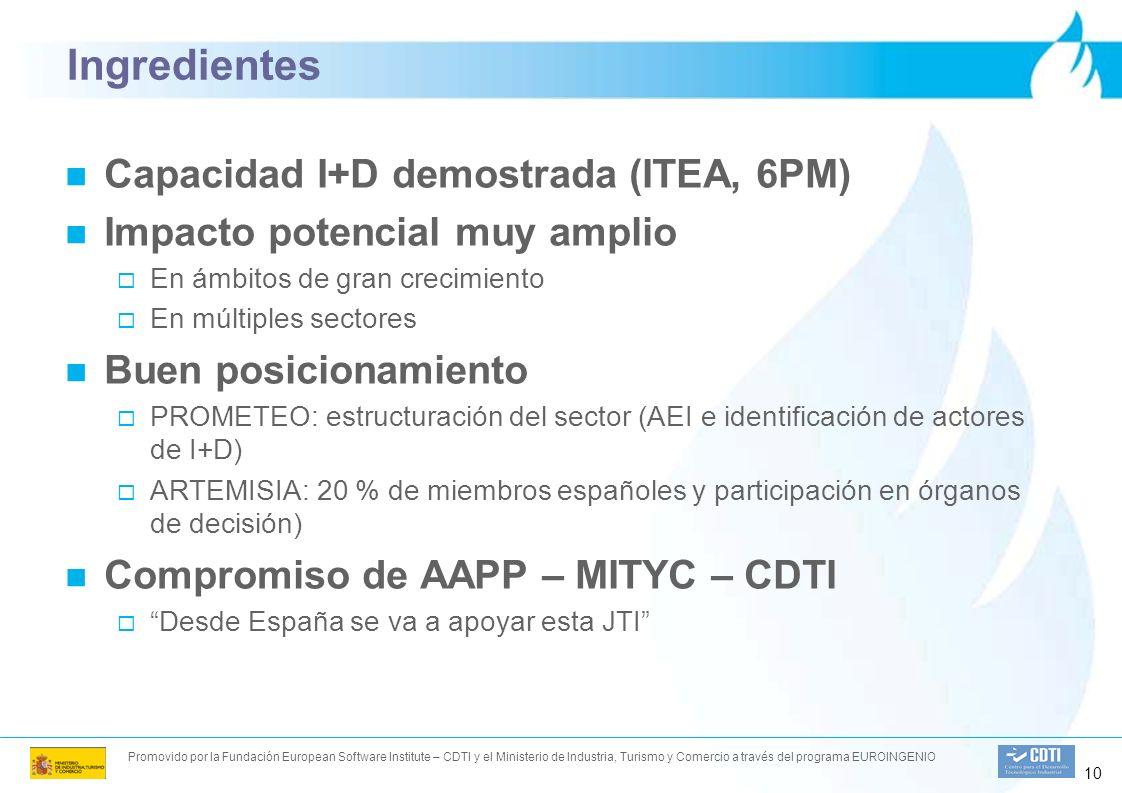 Promovido por la Fundación European Software Institute – CDTI y el Ministerio de Industria, Turismo y Comercio a través del programa EUROINGENIO 10 Ingredientes Capacidad I+D demostrada (ITEA, 6PM) Impacto potencial muy amplio En ámbitos de gran crecimiento En múltiples sectores Buen posicionamiento PROMETEO: estructuración del sector (AEI e identificación de actores de I+D) ARTEMISIA: 20 % de miembros españoles y participación en órganos de decisión) Compromiso de AAPP – MITYC – CDTI Desde España se va a apoyar esta JTI