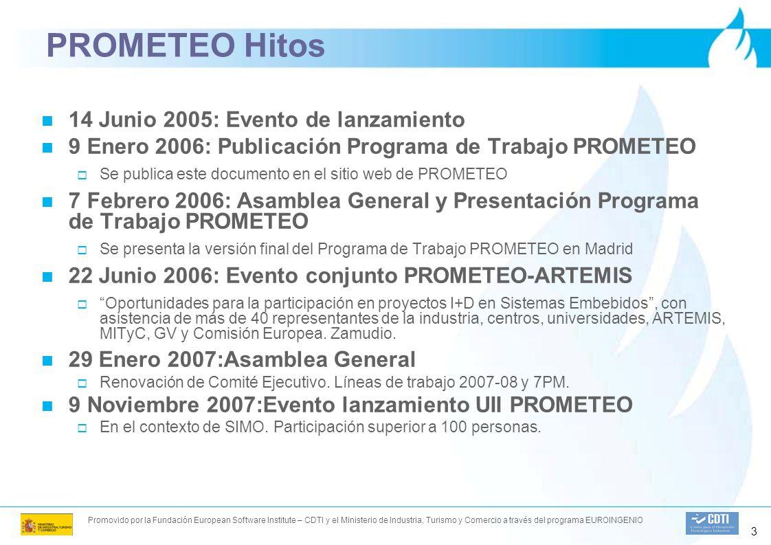 Promovido por la Fundación European Software Institute – CDTI y el Ministerio de Industria, Turismo y Comercio a través del programa EUROINGENIO 3 PROMETEO Hitos 14 Junio 2005: Evento de lanzamiento 9 Enero 2006: Publicación Programa de Trabajo PROMETEO Se publica este documento en el sitio web de PROMETEO 7 Febrero 2006: Asamblea General y Presentación Programa de Trabajo PROMETEO Se presenta la versión final del Programa de Trabajo PROMETEO en Madrid 22 Junio 2006: Evento conjunto PROMETEO-ARTEMIS Oportunidades para la participación en proyectos I+D en Sistemas Embebidos, con asistencia de más de 40 representantes de la industria, centros, universidades, ARTEMIS, MITyC, GV y Comisión Europea.
