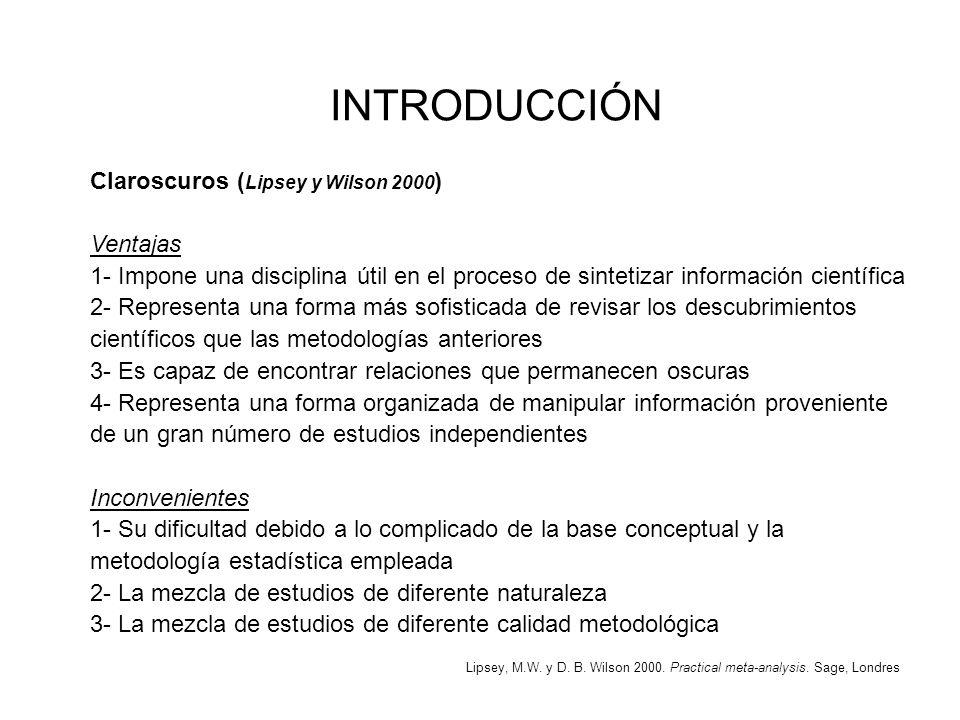 Claroscuros ( Lipsey y Wilson 2000 ) Ventajas 1- Impone una disciplina útil en el proceso de sintetizar información científica 2- Representa una forma