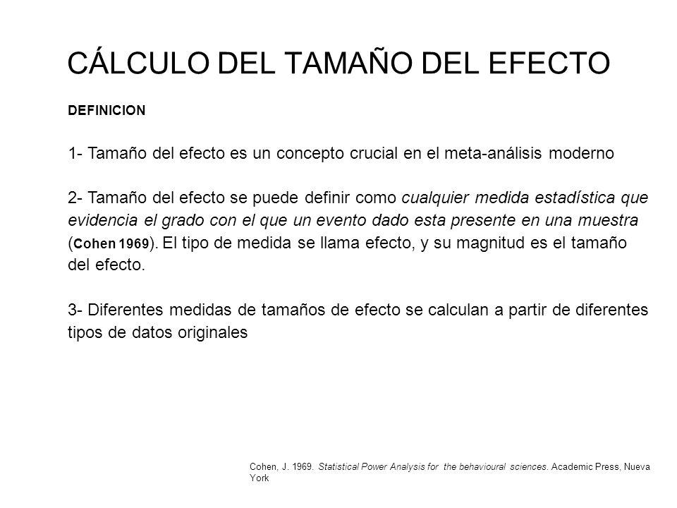 CÁLCULO DEL TAMAÑO DEL EFECTO DEFINICION 1- Tamaño del efecto es un concepto crucial en el meta-análisis moderno 2- Tamaño del efecto se puede definir
