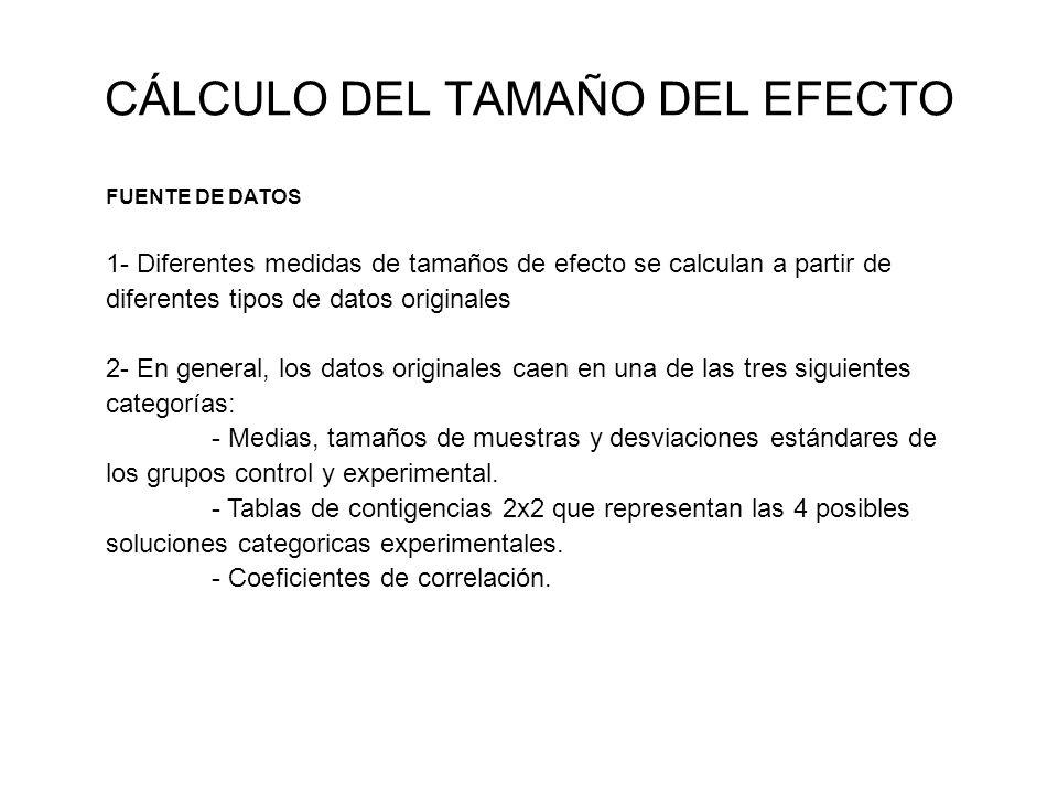 CÁLCULO DEL TAMAÑO DEL EFECTO FUENTE DE DATOS 1- Diferentes medidas de tamaños de efecto se calculan a partir de diferentes tipos de datos originales