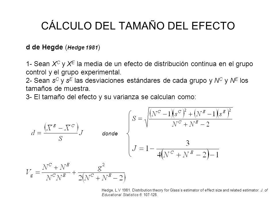 CÁLCULO DEL TAMAÑO DEL EFECTO d de Hegde ( Hedge 1981 ) 1- Sean X C y X E la media de un efecto de distribución continua en el grupo control y el grup