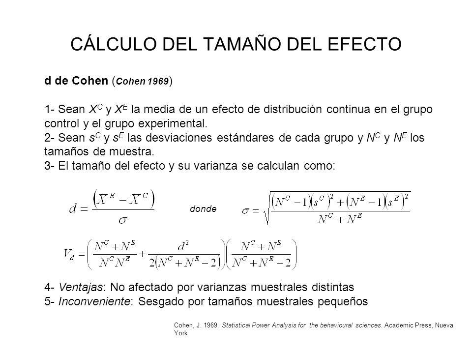 CÁLCULO DEL TAMAÑO DEL EFECTO d de Cohen ( Cohen 1969 ) 1- Sean X C y X E la media de un efecto de distribución continua en el grupo control y el grup