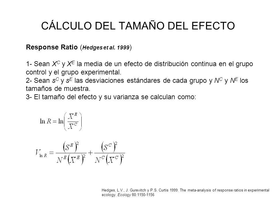 CÁLCULO DEL TAMAÑO DEL EFECTO Response Ratio ( Hedges et al. 1999 ) 1- Sean X C y X E la media de un efecto de distribución continua en el grupo contr