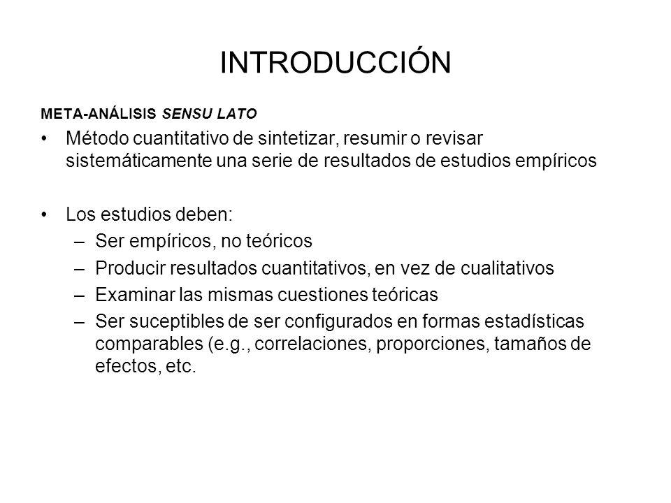COMBINACION DE RESULTADOS 1- A veces el tamaño de los efectos de estudios individuales puede explicarse por una variable independiente.