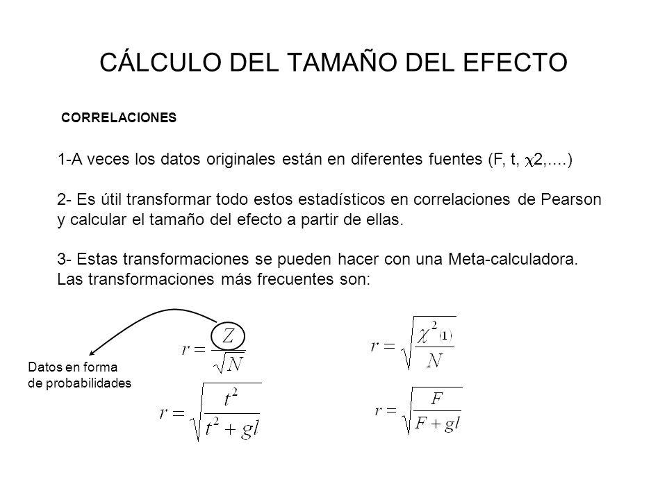 CÁLCULO DEL TAMAÑO DEL EFECTO CORRELACIONES 1-A veces los datos originales están en diferentes fuentes (F, t, 2,....) 2- Es útil transformar todo esto