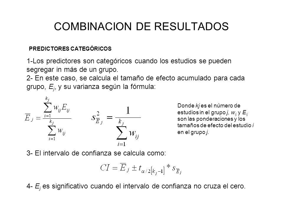 COMBINACION DE RESULTADOS 1-Los predictores son categóricos cuando los estudios se pueden segregar in más de un grupo. 2- En este caso, se calcula el