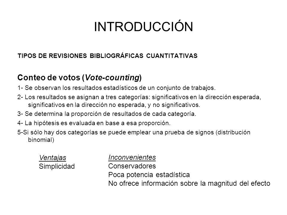 TIPOS DE REVISIONES BIBLIOGRÁFICAS CUANTITATIVAS Conteo de votos (Vote-counting) 1- Se observan los resultados estadísticos de un conjunto de trabajos