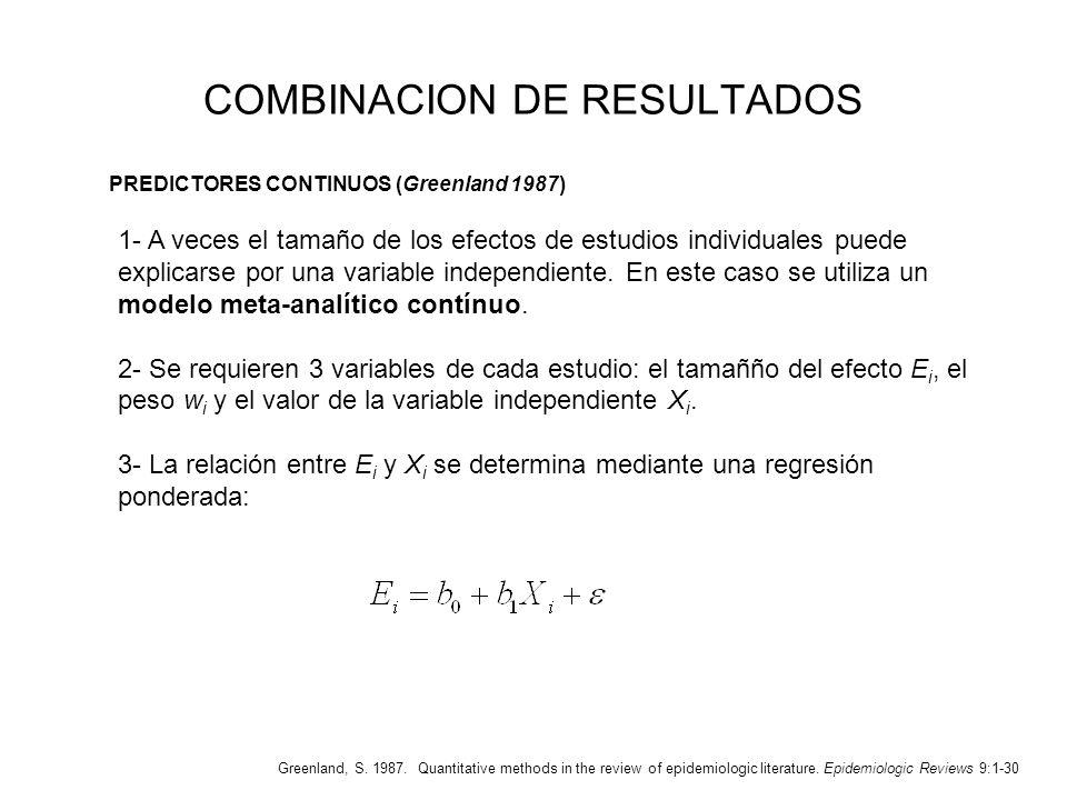 COMBINACION DE RESULTADOS 1- A veces el tamaño de los efectos de estudios individuales puede explicarse por una variable independiente. En este caso s