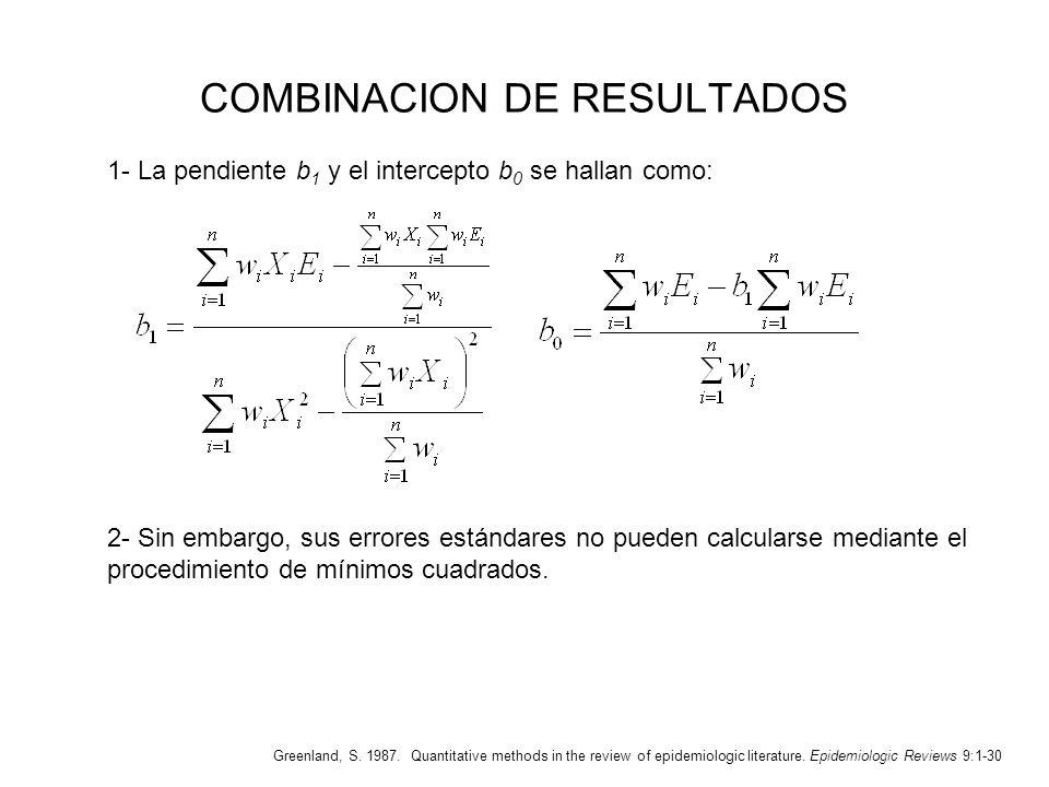 COMBINACION DE RESULTADOS 1- La pendiente b 1 y el intercepto b 0 se hallan como: Greenland, S. 1987. Quantitative methods in the review of epidemiolo