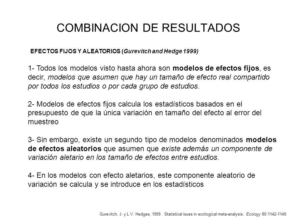 COMBINACION DE RESULTADOS EFECTOS FIJOS Y ALEATORIOS (Gurevitch and Hedge 1999) 1- Todos los modelos visto hasta ahora son modelos de efectos fijos, e