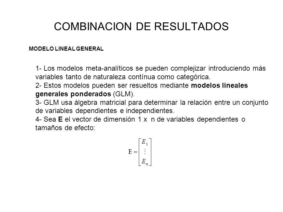 COMBINACION DE RESULTADOS MODELO LINEAL GENERAL 1- Los modelos meta-analíticos se pueden complejizar introduciendo más variables tanto de naturaleza c