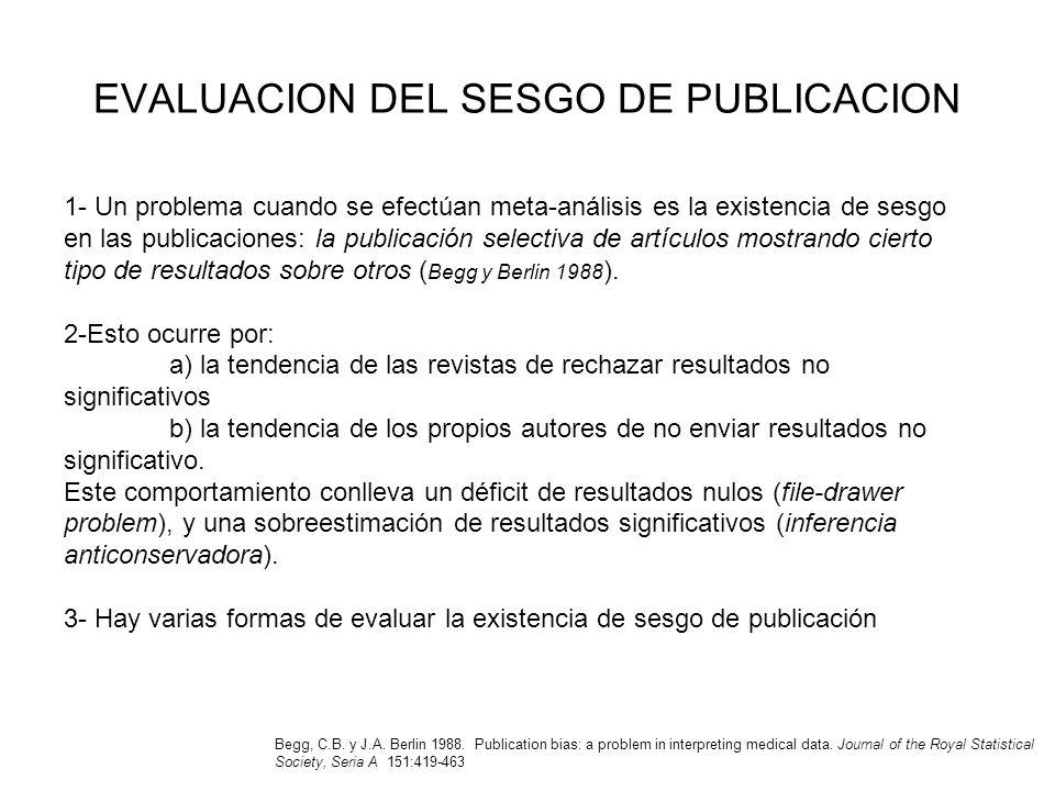 EVALUACION DEL SESGO DE PUBLICACION 1- Un problema cuando se efectúan meta-análisis es la existencia de sesgo en las publicaciones: la publicación sel