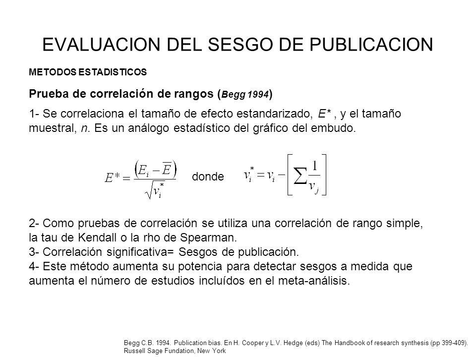 EVALUACION DEL SESGO DE PUBLICACION 1- Se correlaciona el tamaño de efecto estandarizado, E*, y el tamaño muestral, n. Es un análogo estadístico del g