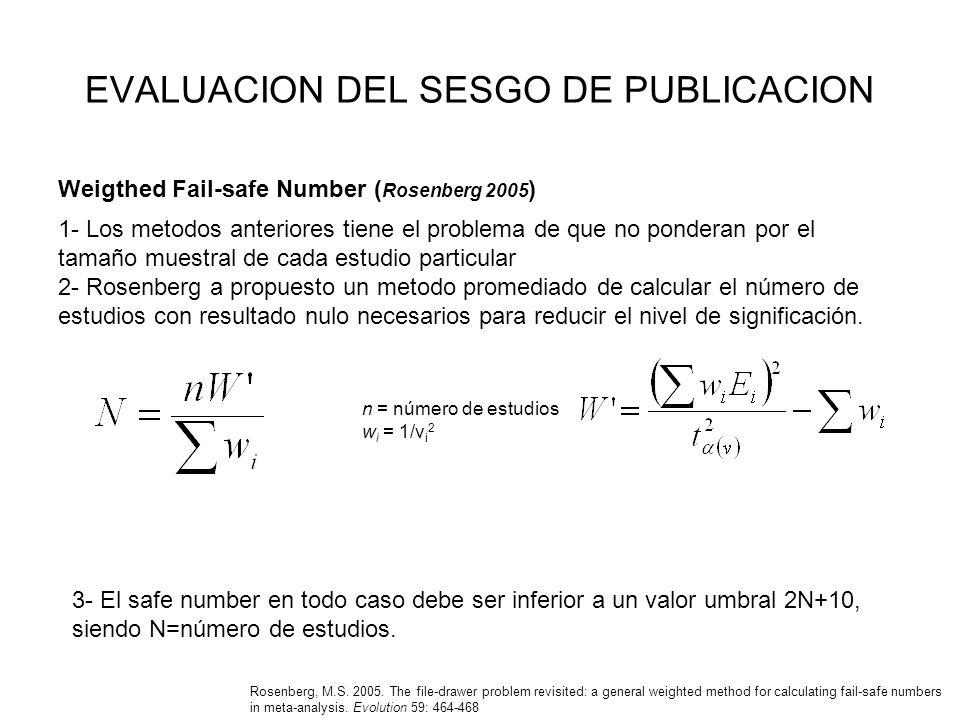 EVALUACION DEL SESGO DE PUBLICACION Weigthed Fail-safe Number ( Rosenberg 2005 ) Rosenberg, M.S. 2005. The file-drawer problem revisited: a general we