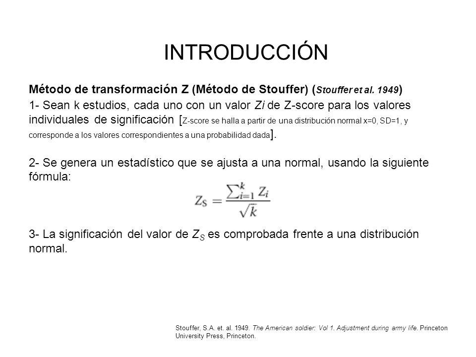 INTRODUCCIÓN Método de transformación Z (Método de Stouffer) ( Stouffer et al. 1949 ) 1- Sean k estudios, cada uno con un valor Zi de Z-score para los