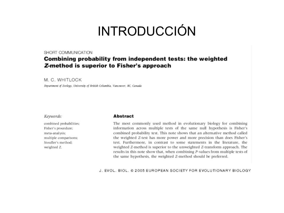 EVALUACION DEL SESGO DE PUBLICACION 1- Se correlaciona el tamaño de efecto estandarizado, E*, y el tamaño muestral, n.