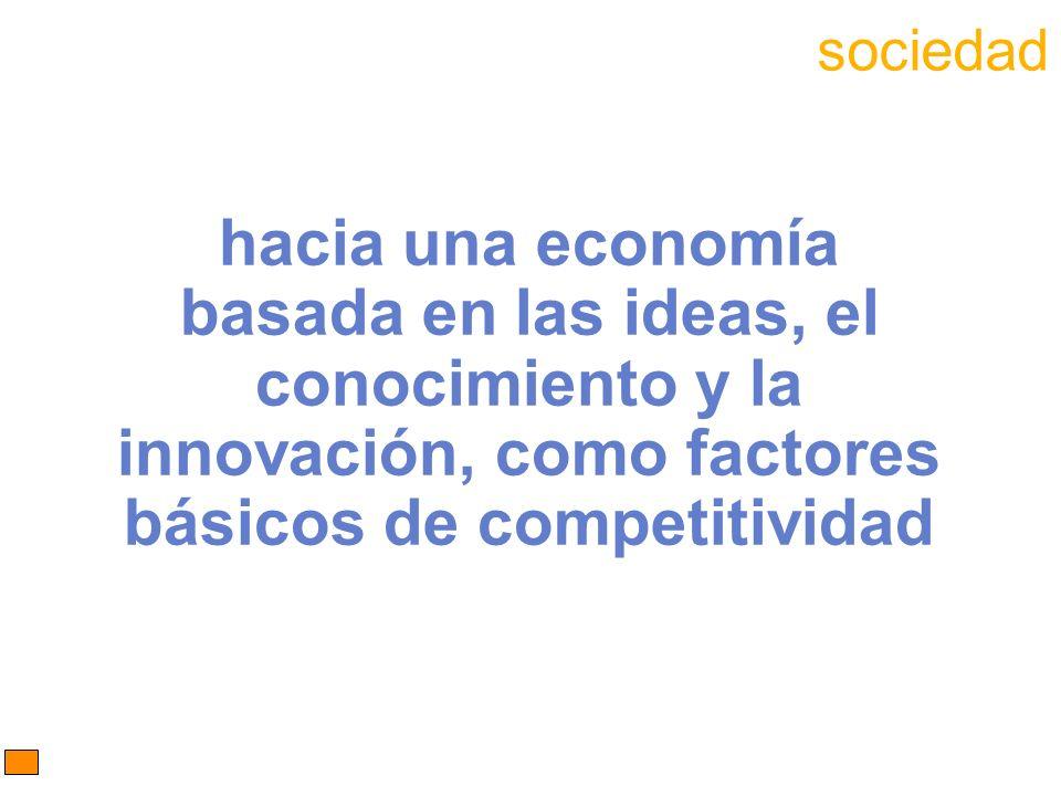 hacia una economía basada en las ideas, el conocimiento y la innovación, como factores básicos de competitividad sociedad