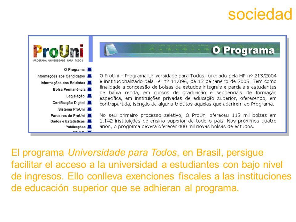El programa Universidade para Todos, en Brasil, persigue facilitar el acceso a la universidad a estudiantes con bajo nivel de ingresos.