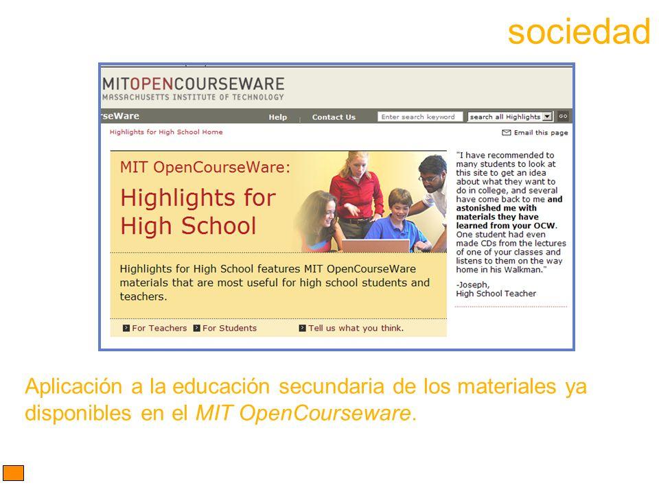Aplicación a la educación secundaria de los materiales ya disponibles en el MIT OpenCourseware.