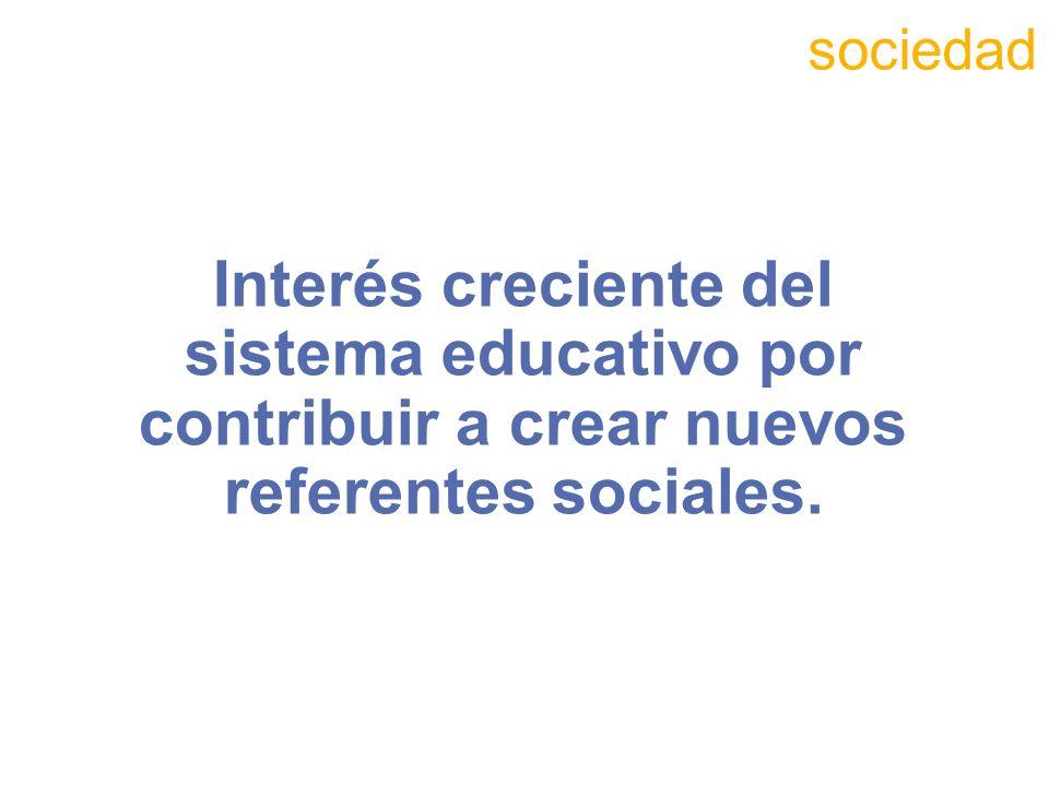 Interés creciente del sistema educativo por contribuir a crear nuevos referentes sociales. sociedad