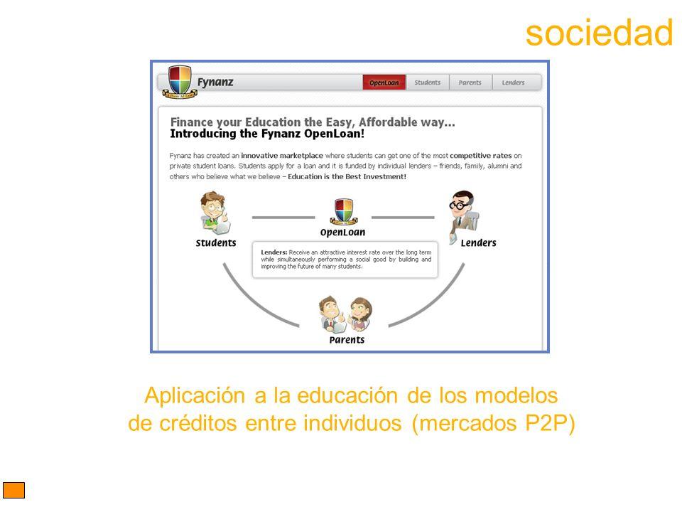 Aplicación a la educación de los modelos de créditos entre individuos (mercados P2P) sociedad