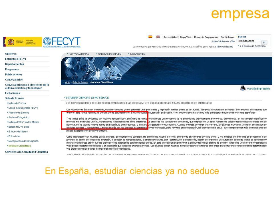 empresa En España, estudiar ciencias ya no seduce