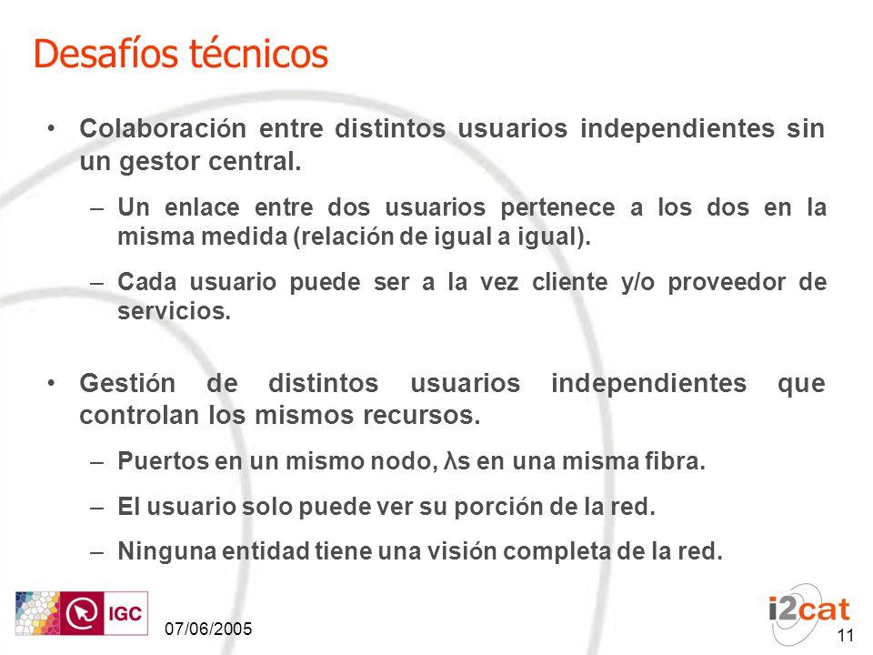 07/06/2005 11 Desafíos técnicos Colaboraci ó n entre distintos usuarios independientes sin un gestor central.
