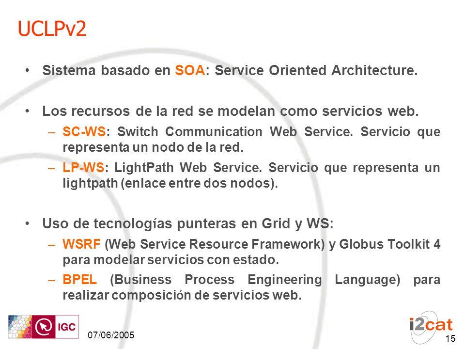 07/06/2005 15 UCLPv2 Sistema basado en SOA: Service Oriented Architecture.