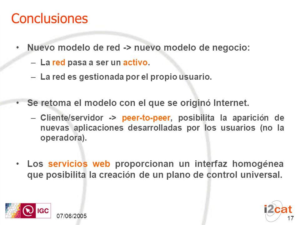 07/06/2005 17 Conclusiones Nuevo modelo de red -> nuevo modelo de negocio: –La red pasa a ser un activo.