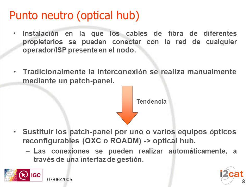 07/06/2005 8 Punto neutro (optical hub) Instalaci ó n en la que los cables de fibra de diferentes propietarios se pueden conectar con la red de cualquier operador/ISP presente en el nodo.
