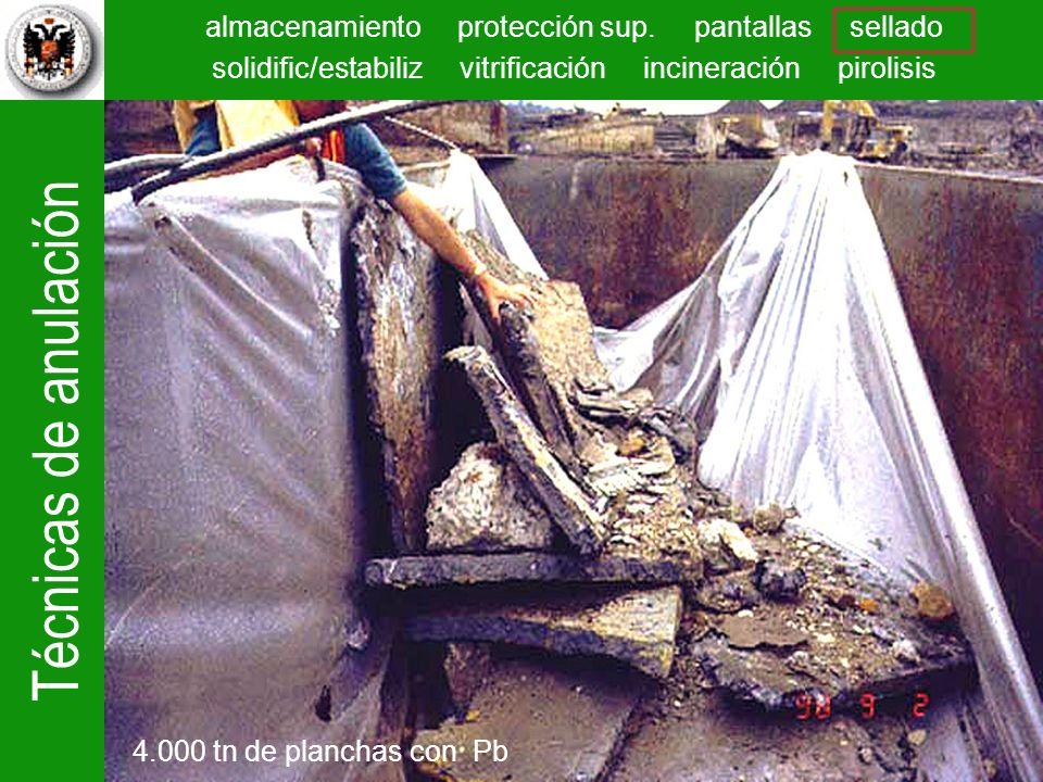 Técnicas de anulación almacenamiento protección sup. pantallas sellado solidific/estabiliz vitrificación incineración pirolisis 4.000 tn de planchas c