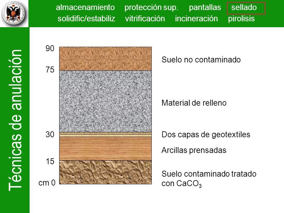 Técnicas de anulación almacenamiento protección sup. pantallas sellado solidific/estabiliz vitrificación incineración pirolisis Suelo no contaminado M