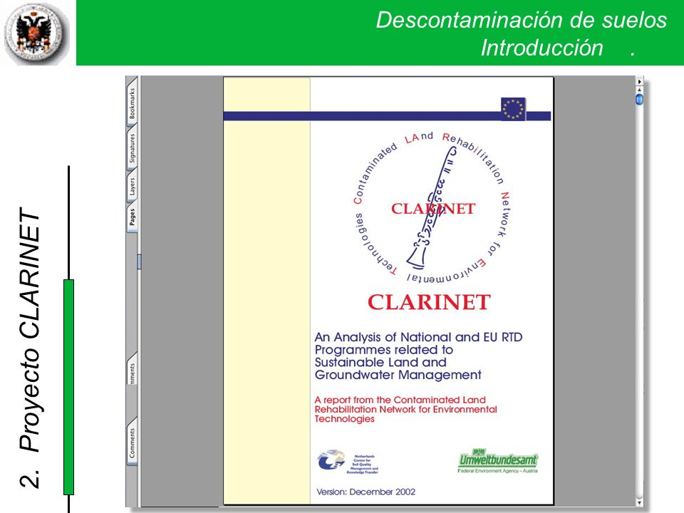 Descontaminación de suelos. Introducción. 2. Proyecto CLARINET