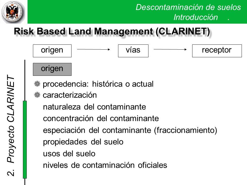 Descontaminación de suelos. Introducción. Risk Based Land Management (CLARINET) origenvíasreceptor procedencia: histórica o actual caracterización nat