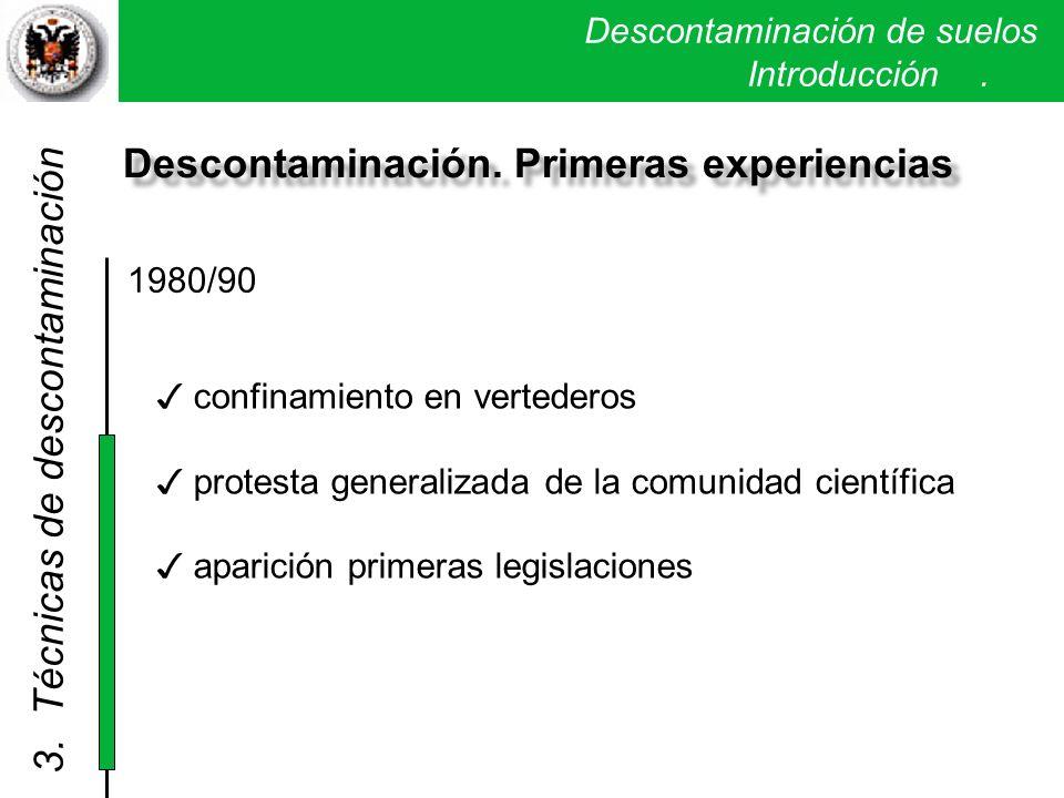 Descontaminación de suelos. Introducción. Descontaminación. Primeras experiencias 1980/90 3. Técnicas de descontaminación confinamiento en vertederos