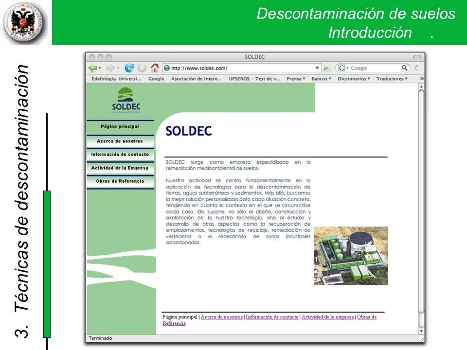 Descontaminación de suelos. Introducción. 3. Técnicas de descontaminación