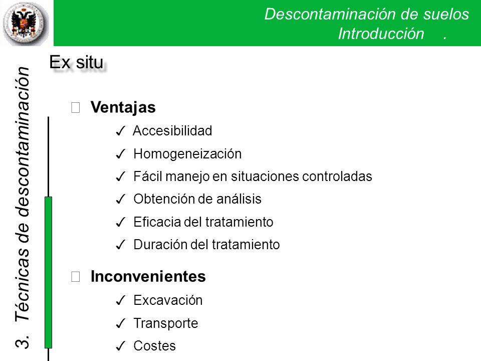 Descontaminación de suelos. Introducción. Ventajas Accesibilidad Homogeneización Fácil manejo en situaciones controladas Obtención de análisis Eficaci