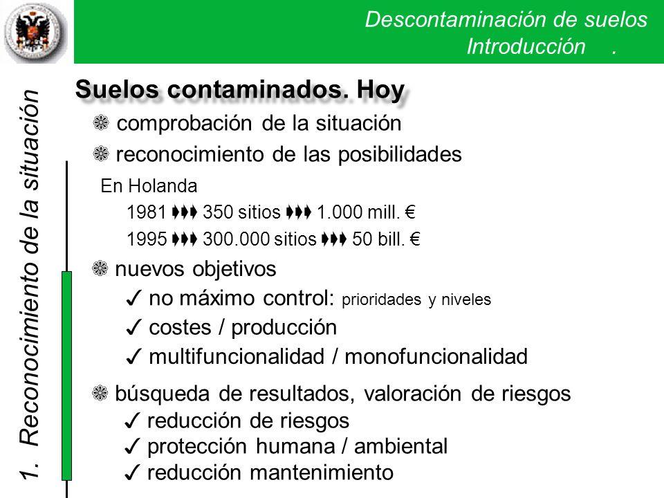 Descontaminación de suelos. Introducción. Suelos contaminados. Hoy c omprobación de la situación reconocimiento de las posibilidades nuevos objetivos