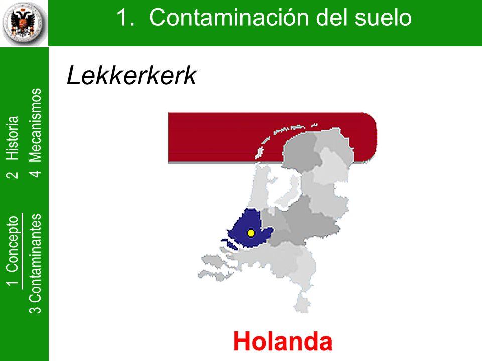 1 Concepto 2 Historia 3 Contaminantes 4 Mecanismos 1. Contaminación del suelo Lekkerkerk
