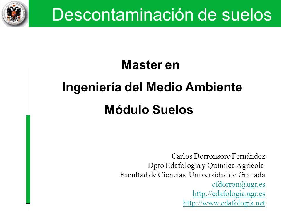 Descontaminación de suelos Técnicas físicas y químicas I. SVE Master en Ingeniería del Medio Ambiente Módulo Suelos Carlos Dorronsoro Fernández Dpto E