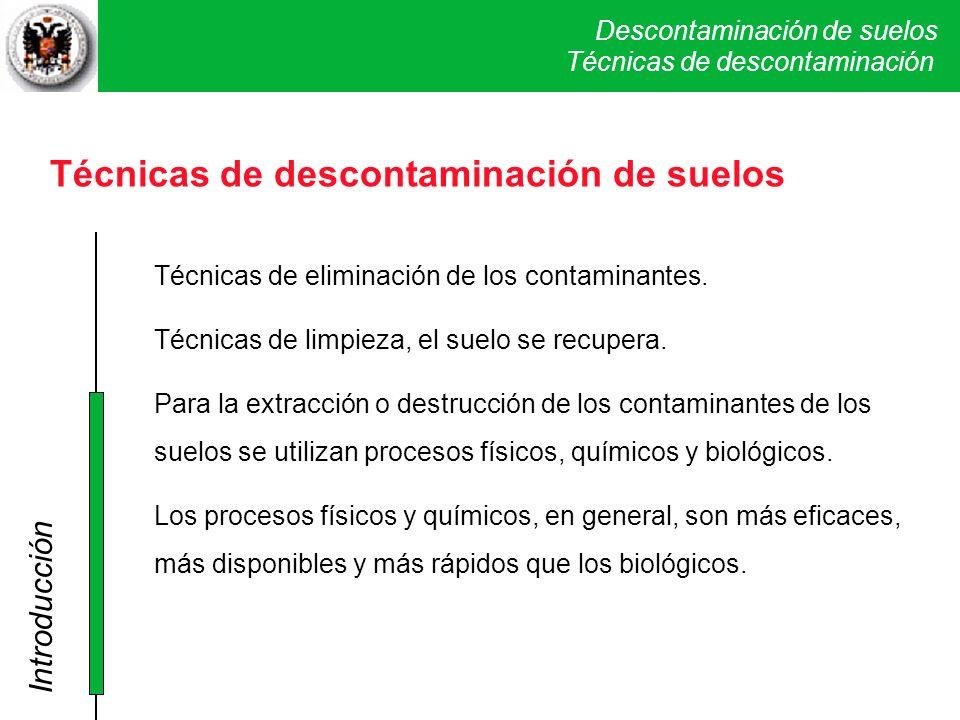 Descontaminación de suelos Técnicas físicas y químicas I. SVE Técnicas de descontaminación de suelos Técnicas de eliminación de los contaminantes. Téc