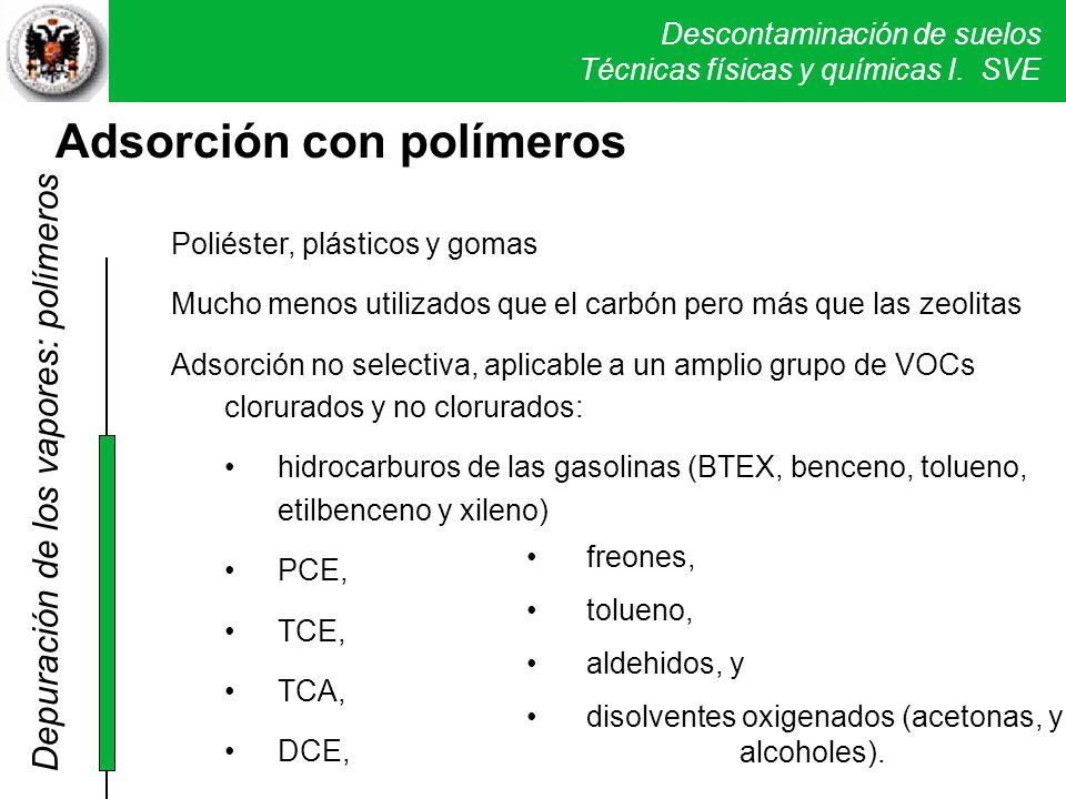 Descontaminación de suelos Técnicas físicas y químicas I. SVE Adsorción con polímeros Poliéster, plásticos y gomas Mucho menos utilizados que el carbó