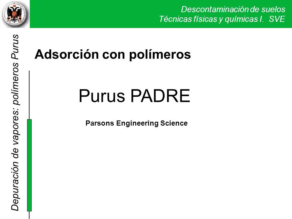 Descontaminación de suelos Técnicas físicas y químicas I. SVE Purus PADRE Adsorción con polímeros Purus PADRE Parsons Engineering Science Depuración d