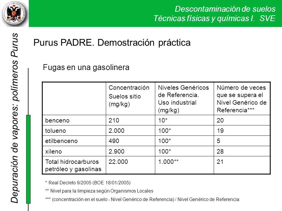 Descontaminación de suelos Técnicas físicas y químicas I. SVE Purus PADRE. Demostración práctica Fugas en una gasolinera Concentración Suelos sitio (m