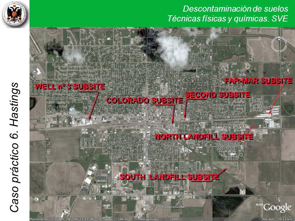 Descontaminación de suelos Técnicas físicas y químicas. SVE Caso práctico 5. Verona 6. Hastings WELL nº 3 SUBSITE COLORADO SUBSITE SECOND SUBSITE NORT